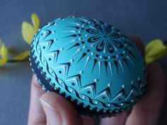 This is a real large chicken egg painted in aqua and black and decorated with aqua black and white wax. Its wax emossed design contributes to the egg's Egg Shell Art, Carved Eggs, Egg Art, Chicken Eggs, White Gift Boxes, Egg Decorating, Egg Shells, Easter Gift, Easter Eggs