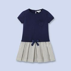 Two-tone cotton dress for girls,