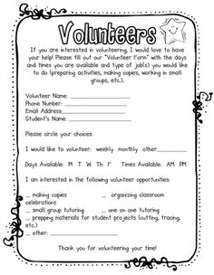Fabulous in First: Free Download- parent volunteer form. Love that my parents are required to volunteer every year for a specific amount of time..