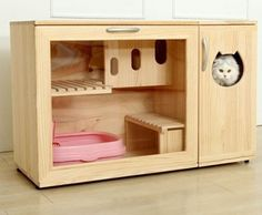 WHAT'S HOT: Incredible Cat Litter Furniture by Catwheel - You probably didn't realise you needed a cat cabinet until you saw this! Amazing cat furniture by - Wooden Cat House, Cat House Diy, Cat Toilet, Cat Cages, Fancy Cats, Cat Room, Outdoor Cats, Pet Furniture, House Furniture