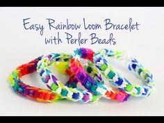 Easy Rainbow Loom Bracelet with Perler Beads Tutorial - All