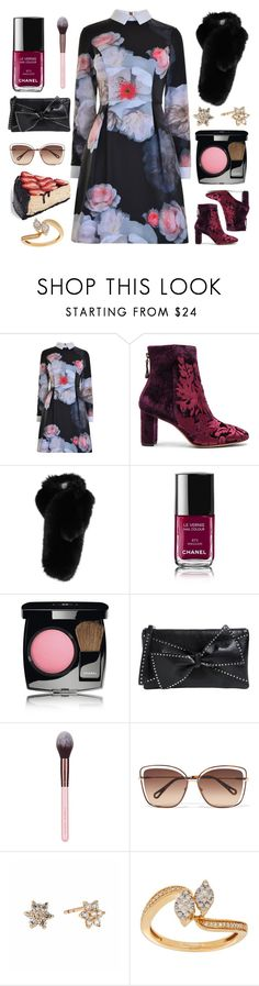"""""""Thankful."""" by refinedpunk ❤ liked on Polyvore featuring Ted Baker, Alexandre Birman, Lilly e Violetta, Chanel, RED Valentino, Luxie, Chloé, Lord & Taylor, thanksgiving and collardress"""
