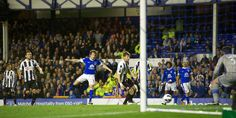 17 September 2012 Leighton Baines surges forward, plays a one-two with Steven Pienaar and then fires an angled drive into the Newcastle net