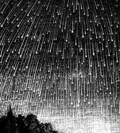Meteor shower - 19th Century engraving
