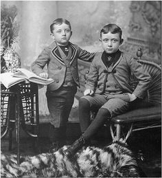 Two very dapper young Victorian lads, boys, kids, children, vintage, fashion, history, photograph, photo b/w.