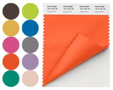 Pantone's fall 2012 color palette for women's fashion. Features Pantone's color of the year for 2012, Tangerine Tango.