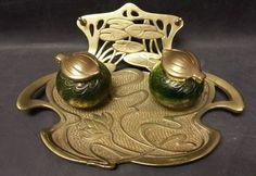 Quezal? loetz? tiffany? art nouveau brass and art glass double ink well