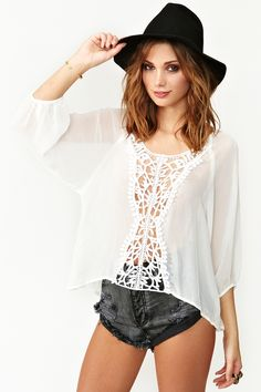 Wander Crochet Top - White in Clothes Tops Shirts + Blouses at Nasty Gal