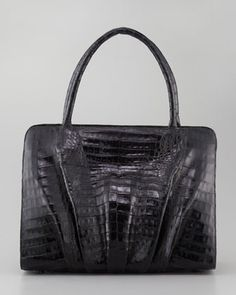 Crocodile Ruched Large Frame Tote Bag by Nancy Gonzalez at Neiman Marcus.