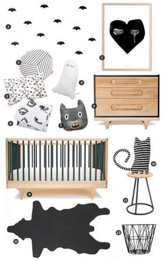 Boo in My Room nursery mood board by Little Gatherer featuring Kalon's CARAVAN CRIB BLACK