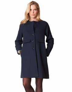 Indulge in this beautifully cut navy wool and cashmere blend maternity coat. Adding luxury to your maternity wardrobe, this gorgeous coat flatters your figure with it's trapeze cut and features a box-pleat detail at the back.