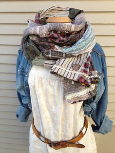CUSTOM  made Eco  SCARF, shabby chic scarf, patchwork scarf,  repurposed woven cottons scarf, YOU choose colors,  free people style, Zasra