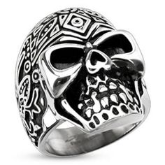 Decorated Day of the Dead Sugar Skull Wide Cast Ring 316L Stainless Steel-WildKlass Jewelry