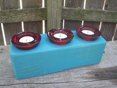 teal chunky rustic wooden candle holder - holds 3 tealights