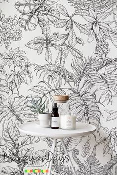 Sketch Tropical Drawing Wallpaper-Removable Wallpaper, Hand Drawn Wall Mural, Drawing Wall Decor, Black and White # 75 - Sketch Tropical Drawing Wallpaper-Removable Wallpaper Hand Drawing Wallpaper, Wall Drawing, Bedroom Drawing, Photo Wallpaper, Wall Wallpaper, Watercolor Walls, Watercolor Pattern, Washable Paint, Cleaning Walls
