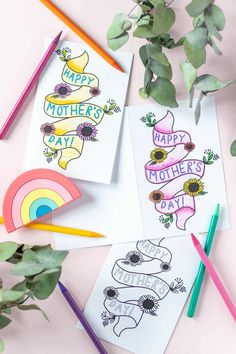 Diy Gifts To Make, Diy Mothers Day Gifts, Easy Diy Gifts, Diy Crafts For Gifts, Happy Mothers Day, Yarn Crafts, Mothers Day Coloring Cards, Free Printable Cards, Printables