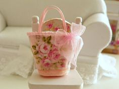 dollhouse miniature fabric  bag Barbie and by Mondinadollhouse