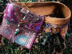 Carpetbag Tapestry - Textile - Nomadic Pouch-belt Custom Orders Only by Krisha Fairchild Boho Gypsy, Hippie Boho, Bohemian Style, Hippie Style, Coachella, Altered Couture, Hip Bag, Diy Clothing, Festival Fashion