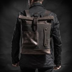 new product 5a2d4 afc4b Leather backpack Roll top backpack Navy leather backpack Mens backpack Roll  top backpack Laptop backpack Birthday gift Free Personalization