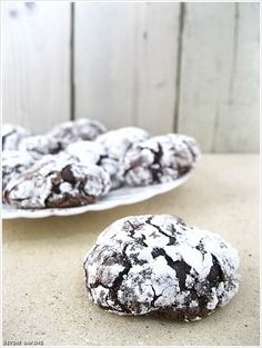 These cookies are so delicious. They are really intense and fudgy. I thought it was awesome that the cookies have no flour or butter! They resemble chocolate crinkle cookies, but are way better. After reading some reviews I decided to reduce the sugar by half a cup, and I'm glad I did. They were just sweet enough.
