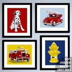 Fire Truck art fire truck decor Vintage fire engine by PaperLlamas, $45.00