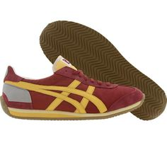 Asics Onitsuka Tiger California 78 OG Vintage shoes in maroon, yellow, and, gold,