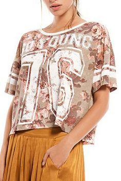 ROMWE 76 & Floral Print Loose T-shirt