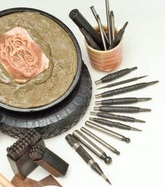 cbasing and repousse tools and setup - from Intro to Chasing and Repousse: Create Dimension in Metal With or Without Pitch, plus how to make your own chasing tools