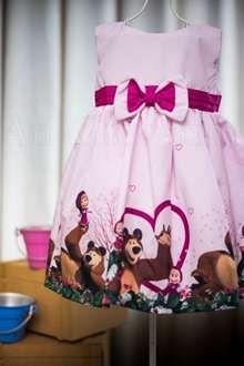 Vestido Masha e o Urso para Festa Infantil Feminina