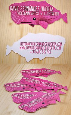 Quirky Die Cut Pink Whale Business Card | Business Cards | The Design Inspiration