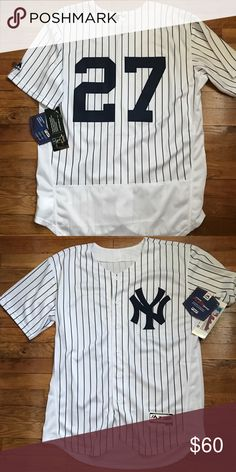 NWT Giancarlo Stanton NY Yankees Jersey Large Brand New w Tags  Giancarlo Stanton #27 Yankees Home Pinstripe Majestic Authentic Retail $129.99 Majestic Shirts Tees - Short Sleeve
