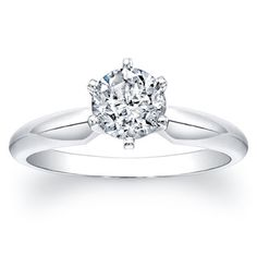badb2e08a Victoria Kay 14k White Gold Certified 1ct TDW 6-Prong Diamond Engagement  Solitaire Ring
