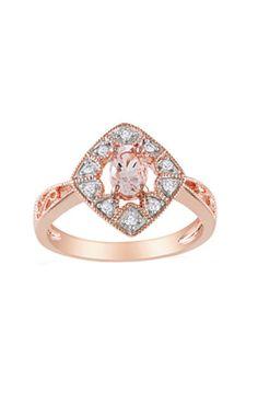Rose Morganite  Diamond Ring