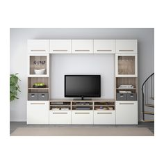 BESTÅ TV storage combination/glass doors - walnut effect light gray/Marviken white clear glass, drawer runner, soft-closing - IKEA