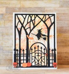 Taylored-Expressions-Wrought-Iron-Gate-amp-Fence-Die-Set-TE637- uses big tree cover plate and trims away  Halloween