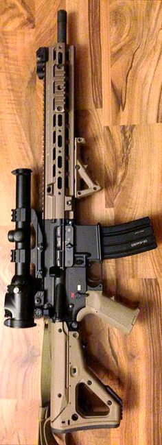 Geissele Super Modular Rail for the HK416/MR556 mounted on an MR with Magpul FDE attire.