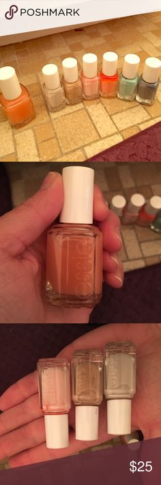 Essie nail polish Sorted Essie nail polish. Never opened or used. Colors in order of photo with all the bottles: pink glove service (0.46 fl. oz), hubby for dessert (0.16 fl oz),  brides to be (0.16 fl oz), I pink I can (0.16 fl oz), love me every minute (0.16 fl oz), blossom dandy (0.16 fl oz), petal pushers (0.16 fl oz) essie Accessories