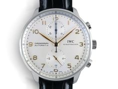 IWC Portugieser Chronograph 40.9MM Watch, Fashioned in Stainless Steel, Featuring a Silver Dial, Black Alligator Strap and Automatic Movement