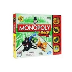 Monopoly Junior Board Game - Gift-wrap available. Enter your model number Above to make sure this fits Fast-trading Monopoly Junior game is for younger players Game is like the classic Monopoly game but easier for kids Properties are fun places like an ice cream parlor and a skate park Single banknotes keep the transactions quick and easy Includes gameboard, 4 tokens, 20 Chance cards, 48 Sold signs, 90 x M1 banknotes... #kids #games #gifts #shop