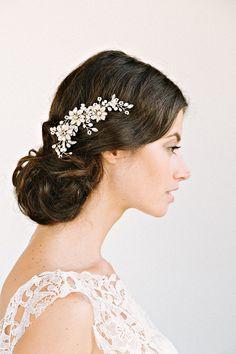 MORGAN Rhinestone Floral Comb- bridal comb, veil comb, headpiece, wedding