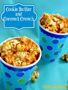 Cookie Butter and Coconut Crunch -- made with Speculoos, coconut, and toffee bits. You'll definitely be coming back for more! #ClarksCondensed #Popcorn #Speculoos