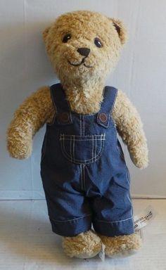 NWT Ikea BRUMMA plush stuffed brown Teddy Bear blue jean overall 16 inches #Ikea