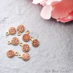Rose Gold Druzy Connector 7x9mm Octagon Connector Gold Bail