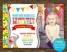 Circus Style 3 Birthday Invitation - Printable - FREE pennant banner and thank you card with purchase