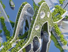"Inspiration - Vincent Callebaut's 2050 Vision of Paris as a ""Smart City"" with 8 Plus-Energy Towers Architecture Durable, Green Architecture, Futuristic Architecture, Sustainable Architecture, Beautiful Architecture, Landscape Architecture, Contemporary Architecture, Pavilion Architecture, Residential Architecture"