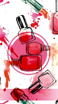 This graphic is about Hair and Beauty, different color nails put together in water color painting ba