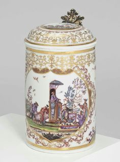 A MEISSEN SILVER-GILT-MOUNTED CHINOISERIE TANKARD AND COVER CIRCA 1725, THE MOUNTS 18TH CENTURY Price realised  GBP 206,500.