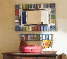 Multi-Colored Rustic Mirror and shelf #PotteryBarnKids---I might try to make something like this