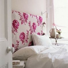 pink floral fabric headboard