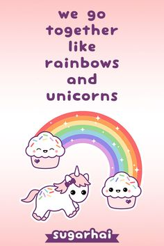 Super kawaii pink baby unicorn flying in the air with happy cute cupcake rainbow. Unicorn And Glitter, Real Unicorn, Unicorn Art, Magical Unicorn, Cute Unicorn, Rainbow Unicorn, Unicorn Sketch, Unicorn Quotes, We Go Together Like